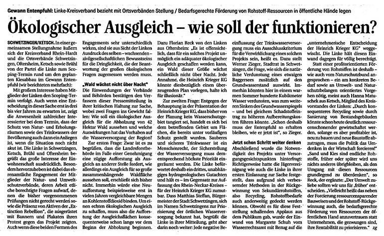 Pressebericht in der Schwetzinger Zeitung